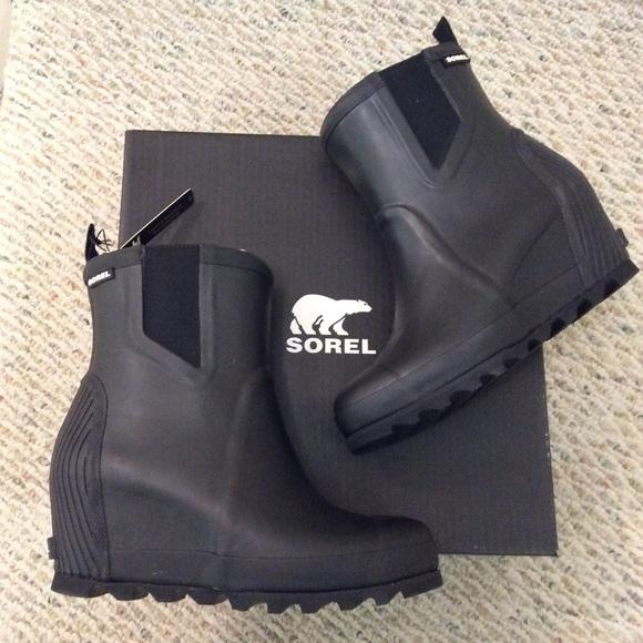 Sorel Black Wedge Waterproof Rain Ankle